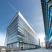 A wide angle shot showing a modern office block in central London.