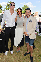 Left to right, DEAN STEPHEN, CHARLOTTE HAYES-JONES and HAMISH JENKINSON at the Summer Solstice Party during the Boodles Tennis event hosted by Beulah London and Taylor Morris at Stoke Park, Park Road, Stoke Poges, Buckinghamshire on 21st June 2014.