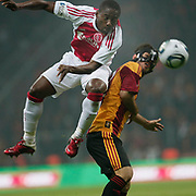 Galatasaray's Emre COLAK (R) and Ajax's Eyong ENOH (L) during their Friendly soccer match Galatasaray between Ajax at the Turk Telekom Arena at Arslantepe in Istanbul Turkey on Saturday 15 January 2011. Turkish soccer team Galatasaray new stadium Turk Telekom Arena opening ceremony. Photo by TURKPIX