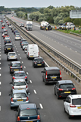 © Licensed to London News Pictures. 26/08/2017. Milton Keynes, UK. The sceneon the M1 motorway near Newport Pagnell after a crash involving a minibus and two lorries. Police say that several people are dead and four others have been taken to hospital after the accident on the southbound carriageway in the early hours of this morning. Photo credit: Ben Cawthra/LNP
