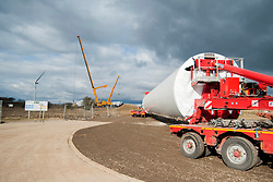 Ulley Wind Farm one of the four sections that make up the tower arrives by lorry..13  March  2013.Image © Paul David Drabble