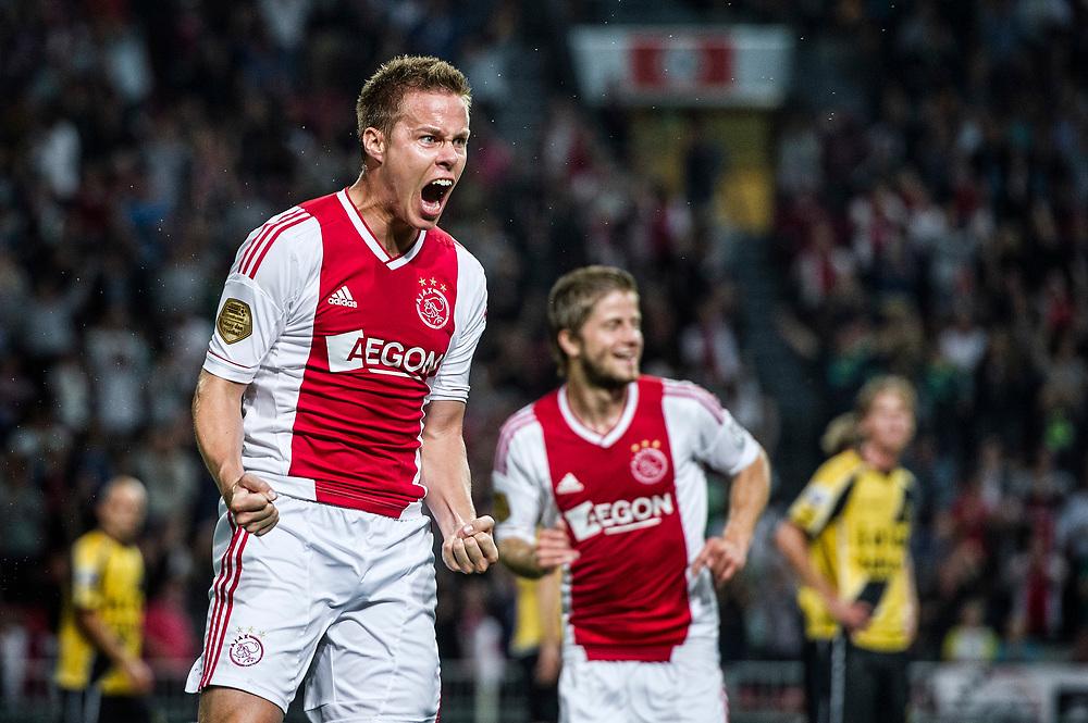 Nederland. Amsterdam, 25-08-2012. Foto: Patrick Post.  Ajax-Nac. Eindstand: 5-0. Niklas Moisander, net van AZ overgekomen, scoort de 2-0 in zijn eerste wedstrijd voor Ajax eb viert dat uitbundig.