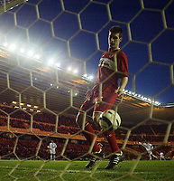 Photo: Jed Wee.<br /> Middlesbrough v FC Basle. UEFA Cup. Quarter-Final. 06/04/2006.<br /> <br /> Middlesbrough's Chris Riggott looks on in dismay as the ball hits the back of their net.