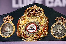 General view of the WBA Super Heavyweight Championship belt during a press conference at Sky Sports Studios, Isleworth.