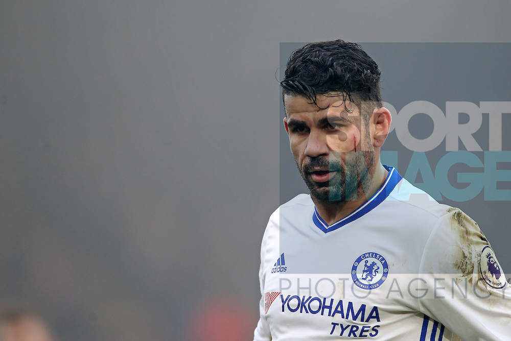 Chelsea's Deigo Costa with a cut on is face during the Premier League match at Selhurst Park Stadium, London. Picture date December 17th, 2016 Pic David Klein/Sportimage