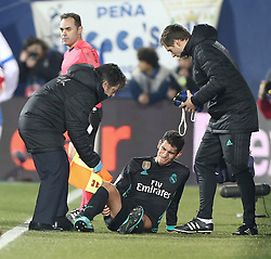 January 18, 2018 - Leganes, Spain - Jesus Vallejo of Real Madrid comes off injured during the Spanish Copa del Rey, Quarter Final, First Leg match between Leganes and Real Madrid at Estadio Municipal de Butarque on January 18, 2018 in Leganes, Spain. (Credit Image: © Raddad Jebarah/NurPhoto via ZUMA Press)