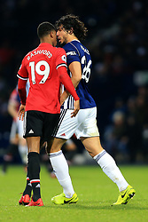 17th December 2017 - Premier League - West Bromwich Albion v Manchester United - Marcus Rashford of Man Utd goes head-to-head with Ahmed Hegazy of West Brom - Photo: Simon Stacpoole / Offside.