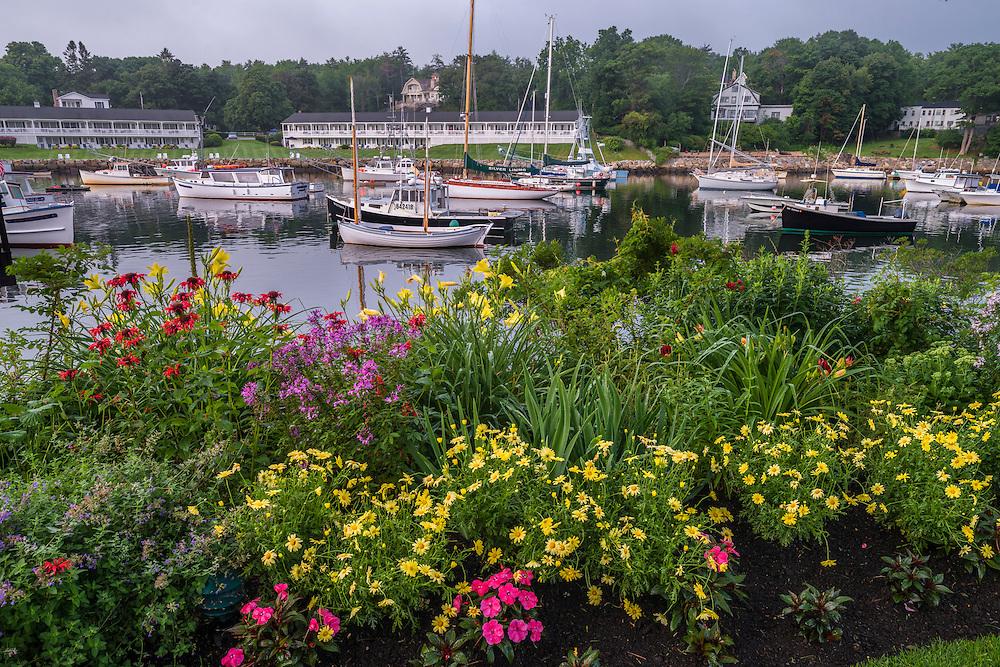 Summer flower garden at waters edge & harbor views, Ogunquit, ME