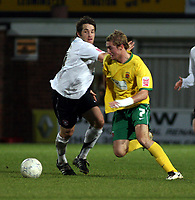 Photo: Mark Stephenson/Sportsbeat Images.<br /> Hereford United v Hartlepool United. The FA Cup. 01/12/2007.Hartlepool's Gary Liddle gets the better of Herefords Beb Smith