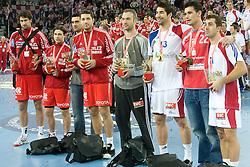 All stars team: Igor Vori (9) of Croatia, Ivan Cupic (27) of Croatia, Kiril Lazarov of Macedonia,  Blazenko Lackovic (6) of Croatia, Goalkeeper of France Thierry Omeyer, Nikola Karabatic (13) of France, Marcin Lijewski (22) of Poland and Michael Guigou (21) of France after the 21st Men's World Handball Championship 2009 Gold medal match between National teams of France and Croatia, on February 1, 2009, in Arena Zagreb, Zagreb, Croatia. France won 24:19 and became World Champion 2009.  (Photo by Vid Ponikvar / Sportida)