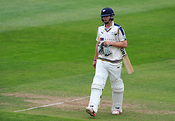 Dejection for Yorkshire's Alex Lees after being dismissed. Photo mandatory by-line: Harry Trump/JMP - Mobile: 07966 386802 - 24/05/15 - SPORT - CRICKET - LVCC County Championship - Division 1 - Day 1- Somerset v Sussex Sharks - The County Ground, Taunton, England.