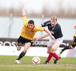 Partick Thistle's Steven Craig and Falkirk's Darren Dods..half time ; Falkirk 0 v 0 Partick Thistle, 20/4/2013..© Michael Schofield.