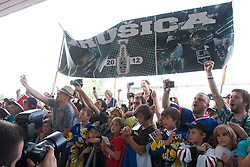 Fans of Anze Kopitar ice-hockey player NHL Champion during Anze Kopitar welcome ceremony when he arrived home after winning Stanley Cup at the end of season 2011/2012, on June 20, 2012, at airport Jozeta Pucnika, Brnik, Slovenia.(Photo by Grega Valancic / Sportida.com)