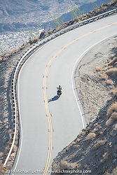 Cannonballers head up the steep mountain pass just out of Palm Desert on the Palms to Pines Scenic Byway on the last day of the Motorcycle Cannonball Race of the Century. Stage-15 ride from Palm Desert, CA to Carlsbad, CA. USA. Sunday September 25, 2016. Photography ©2016 Michael Lichter.