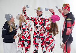10.10.2015, Olympia Eisstadion, Innsbruck, AUT, OeSV Einkleidung Winterkollektion, während der Einkleidung der ÖSV- Mannschaften am Samstag, 10. Oktober 2015, in Innsbruck, im Bild v.l. Andrea Limbacher, Michaela Kirchgasser, Max Franz, Elisabeth Görgl, Dominik Landertinger // during the Outfitting of the Ski Austria Winter Collection at the Olympia Eisstadion in Innsbruck, Austria on 2015/10/10. EXPA Pictures © 2015, PhotoCredit: EXPA/ Johann Groder