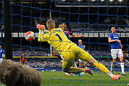Everton goalkeeper Jordan Pickford (1) dives to punch clear during the Premier League match between Everton and Bournemouth at Goodison Park, Liverpool, England on 26 July 2020.