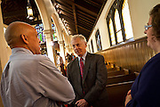 Founder of the Southern Poverty Law Center and civil rights lawyer Morris Dees, center, speaks with President Kington and Sarah Purcell, Director of the Rosenfield Program, before his Convocation lecture in Herrick Chapel on Thursday.