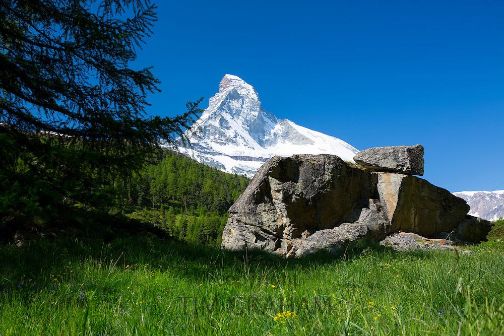 Glacial rock by the Matterhorn mountain in the Swiss Alps near Zermatt, Switzerland