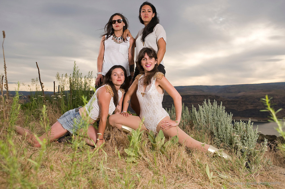 GEORGE, WA - MAY 24: Thunderpussy pose for a portrait backstage at Sasquatch! Music festival at the Gorge Amphitheater on May 24, 2015 in George, Washington. (Photo by Steven Dewall)