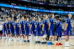 Players of Finland listening to the National anthem during basketball match between National Teams of France and Finland at Day 1 of the FIBA EuroBasket 2017 at Hartwall Arena in Helsinki, Finland on August 31, 2017. Photo by Vid Ponikvar / Sportida