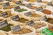 On a street market. On a street market. Herbs and spices in sacks. Bordeaux city, Aquitaine, Gironde, France