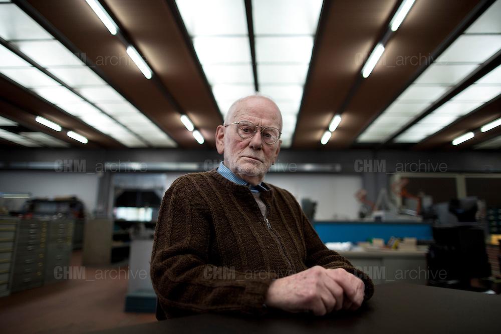 Carlo Vichi, fondatore della Mivar, all'interno della sua fabbrica, Abbiategrasso 18 marzo 2014. Guido Montani / OneShot
