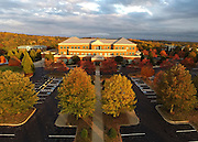 The sun sets over the Outpatient Center at Martha Jefferson Hospital in Charlottesville, VA. Photo/Andrew Shurtleff