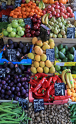 A view of produce for sale on a fruit and vegetable stall in London. Picture date: Thursday May 2, 2019. Photo credit should read: Gareth Fuller/PA Wire