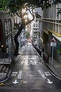 Hong Kong - August 26, 2019: A view down Aberdeen Street in Mid-Levels, an affluent residential area on Hong Kong Island in Hong Kong.