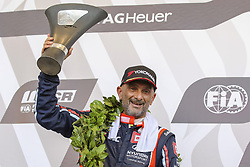 June 24, 2018 - Vila Real, Vila Real, Portugal - Gabriele Tarquini from Italy in Hyundai i30 N TCR of BRC Racing Team celebrants the second place during the Race 3 of FIA WTCR 2018 World Touring Car Cup Race of Portugal, Vila Real, June 24, 2018. (Credit Image: © Dpi/NurPhoto via ZUMA Press)