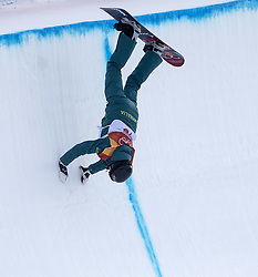 February 12, 2018 - Pyeongchang, South Korea - Holly Crawford of Australia trys to save her run after falling with this hand stand in action during Ladies Halfpipe Qualification Round 2 at the 2018 Pyeongchang Winter Olympics. (Credit Image: © Daniel A. Anderson via ZUMA Wire)