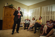 "03 AUGUST 2012 - GILBERT, AZ:  WIL CARDON campaigns with Republican voters during a ""meet & greet"" in a private home in Gilbert, AZ, Friday. Cardon, a wealthy businessman, is running in the Republican primary for the US Senate seat being vacated by Sen. Jon Kyl. He is running against long serving Congressman Jeff Flake, who currently represents Arizona's 6th Congressional District, a conservative, largely Mormon, district in the suburbs of Phoenix. Both Cardon and Flake are active Mormons and both men are running as ""Tea Party"" inspired conservatives. Whoever wins the August 28 primary will face Dr. Richard Carmona in November's general election.  PHOTO BY JACK KURTZ"