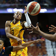 UNCASVILLE, CONNECTICUT- JUNE 5:   Tiffany Mitchell #3 of the Indiana Fever passes the ball during the Indiana Fever Vs Connecticut Sun, WNBA regular season game at Mohegan Sun Arena on June 3, 2016 in Uncasville, Connecticut. (Photo by Tim Clayton/Corbis via Getty Images)