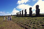 Ahu Akiva, restored 1960, Easter Island, Rapa Nui, Chile<br />