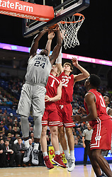 December 4, 2017 - University Park, PA, USA - Penn State forward Mike Watkins dunks the ball during a game against Wisconsin on Monday, Dec. 4, 2017 at the Bryce Jordan Center in University Park, Pa. (Credit Image: © Phoebe Sheehan/TNS via ZUMA Wire)