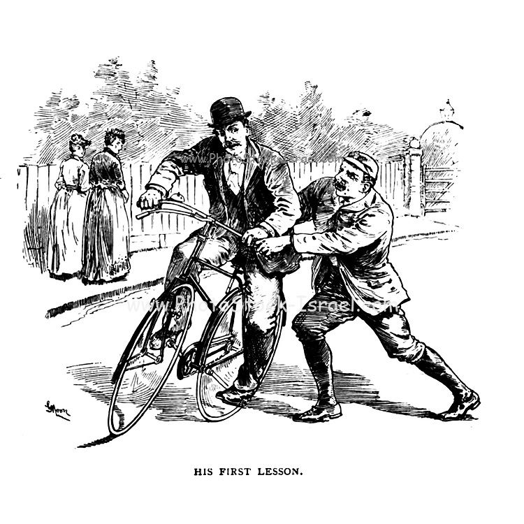 His first lesson from 'Cycling' by The right Hon. Earl of Albemarle, William Coutts Keppel, (1832-1894) and George Lacy Hillier (1856-1941); Joseph Pennell (1857-1926) Published by London and Bombay : Longmans, Green and co. in 1896. The Badminton Library