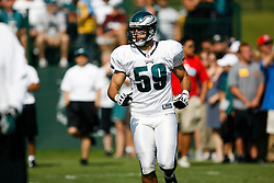 Philadelphia Eagles Linebacker Matt Wilhelm #59 during the Philadelphia Eagles NFL training camp in Bethlehem, Pennsylvania at Lehigh University on Saturday August 8th 2009. (Photo by Brian Garfinkel)