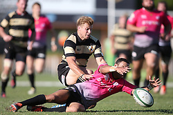 Gerhard Jordaan of Boland challenges as Jean-Paul Lewis of the Pumas dives for the ball during the Currie Cup premier division match between the Boland Cavaliers and The Pumas held at Boland Stadium, Wellington, South Africa on the 2nd September 2016<br /> <br /> Photo by:   Shaun Roy/ Real Time Images