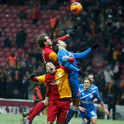 Galatasaray's Johan Elmander (L) and Selcuk Inan (F) during their Turkish Super League soccer match Galatasaray between MP Antalyaspor at the TT Arena Stadium at Seyrantepe in Istanbul Turkey on Saturday 01 February 2012. Photo by TURKPIX