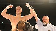 Boxing: Cruiserweight, Heavyweight, Adrian Granat (SWE) - Andreas Kapp (AUT), Hamburg, 16.05.2014<br /> Andrian Granat (SWE) celebrates<br /> ©pixathlon