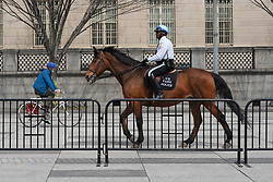 A view of a policeman on horseback and a cyclist on a street in Washington DC. From a series of travel photos in the United States. Photo date: Thursday, March 29, 2018. Photo credit should read: Richard Gray/EMPICS