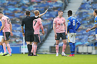 Football - 2020 / 2021 Premier League - Brighton and Hove Albion vs. Sheffield United - The Amex Stadium<br /> <br /> John Lundstram of Sheffield United argues with Referee Mr Peter Bankes after receiving a straight red for serious foul play during the Premier League match at The Amex Stadium Brighton <br /> <br /> COLORSPORT/SHAUN BOGGUST
