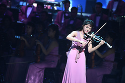 GANGNEUNG, Feb. 9, 2018  A member of the Samjiyon orchestra from the Democratic People's Republic of Korea (DPRK) gives performance at the Arts Center of Gangneung, South Korea, on Feb. 8, 2018. The Samjiyon orchestra from the DPRK staged a performance in the South Korean city of Gangneung on Thursday night before the opening of the PyeongChang Winter Olympics.  zcc) (Credit Image: © Pool/Korea Out/Xinhua via ZUMA Wire)