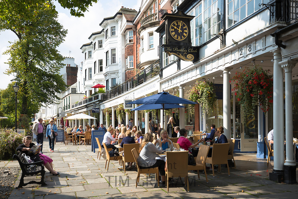 Street scene at The Pantiles pedestrian area of Tunbridge Wells with street cafe and shops in Kent, England, UK