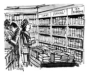 (A woman looking at sections in a bookshop that read 'Sex', 'Cooking', 'Sex and Cooking')