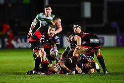 Dragons' Dan Babos in action during todays match<br /> <br /> Photographer Craig Thomas/Replay Images<br /> <br /> EPCR Champions Cup Round 3 - Newport Gwent Dragons v Newcastle Falcons - Saturday 15th December 2017 - Rodney Parade - Newport<br /> <br /> World Copyright © 2017 Replay Images. All rights reserved. info@replayimages.co.uk - www.replayimages.co.uk