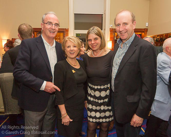(l to r) Anthony O'Leary, Sally O'Leary, Cathy MacAleevy, and Con Murphy at the reunion night to celebrate 50 years of the Irish Fireball Class, held at the Royal St George YC.