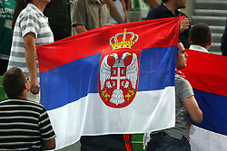 Flag of Serbia at friendly match between Serbia and Croatia for Adecco Cup 2011 as part of exhibition games before European Championship Lithuania on August 9, 2011, in SRC Stozice, Ljubljana, Slovenia. (Photo by Urban Urbanc / Sportida)