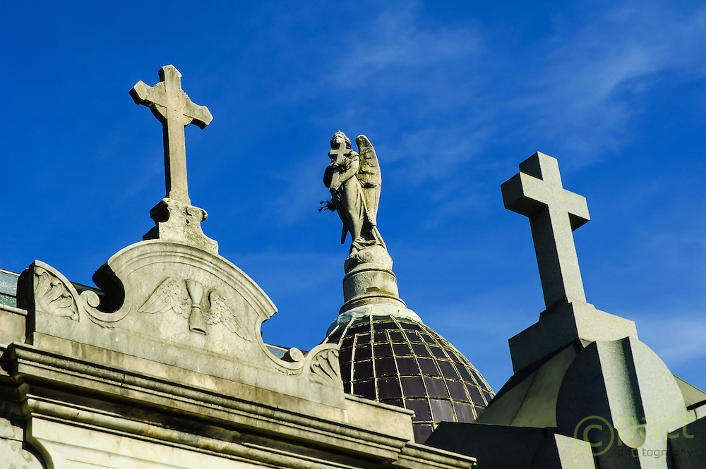 croses and angel on mausoleum, Recoleta Cemetery, Buenos Aires, Argentina
