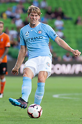 January 11, 2019 - Melbourne, VIC, U.S. - MELBOURNE, VIC - JANUARY 11: Melbourne City defender Ritchie de Laet (2) passes the ball at the Hyundai A-League Round 13 soccer match between Melbourne City FC and Brisbane Roar FC at AAMI Park in VIC, Australia 11th January 2019. (Photo by Speed Media/Icon Sportswire) (Credit Image: © Speed Media/Icon SMI via ZUMA Press)